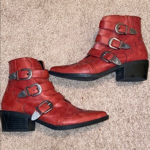 Red Western booties